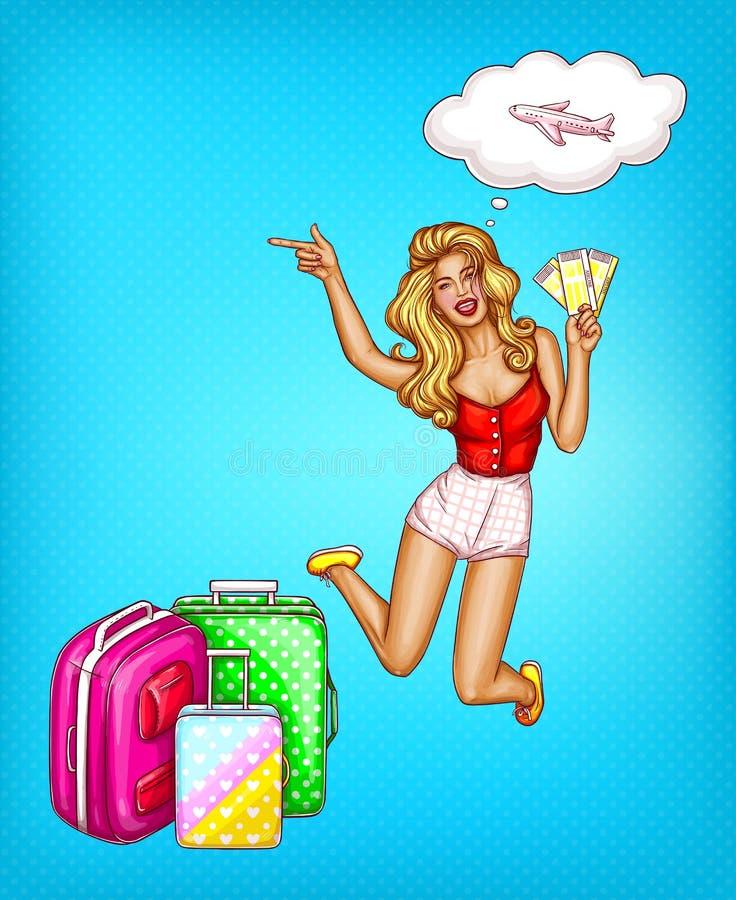 Menina do pop art do vetor com bilhetes, malas de viagem ilustração royalty free