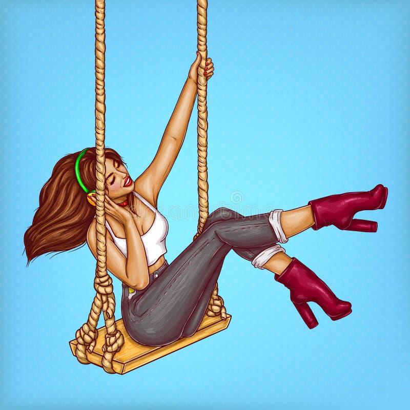 Menina do pop art do vetor no balanço com fones de ouvido ilustração stock