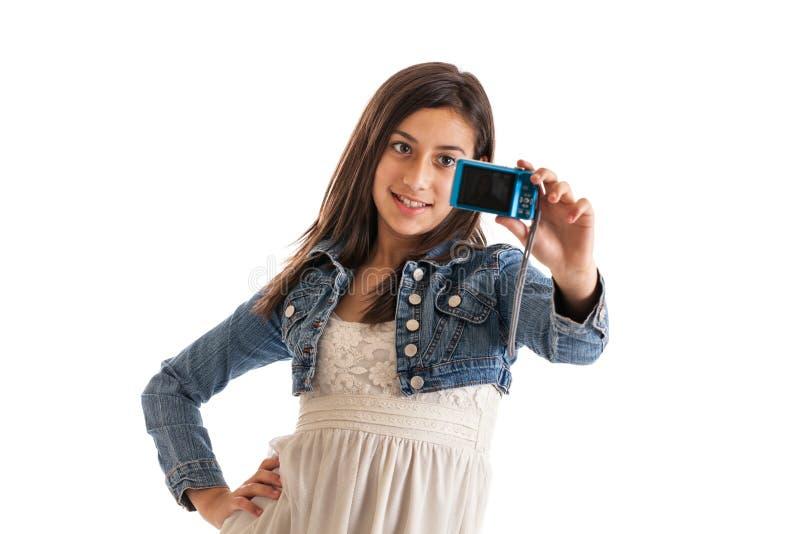 Menina do Preteen com câmera imagem de stock royalty free