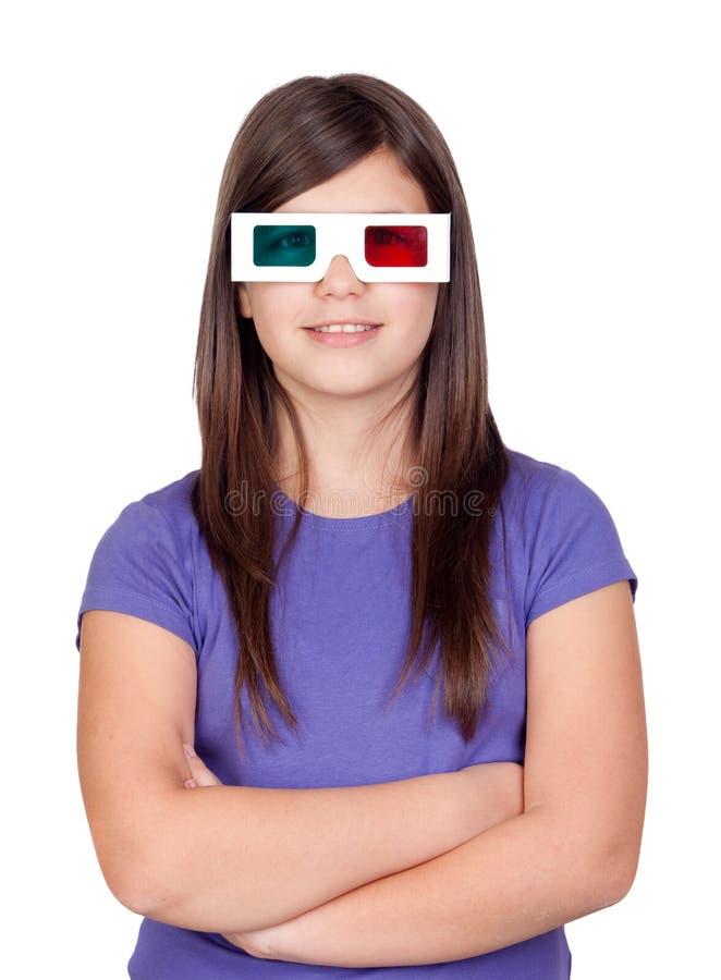 Menina do Preteen com vidros tridimensionais imagens de stock
