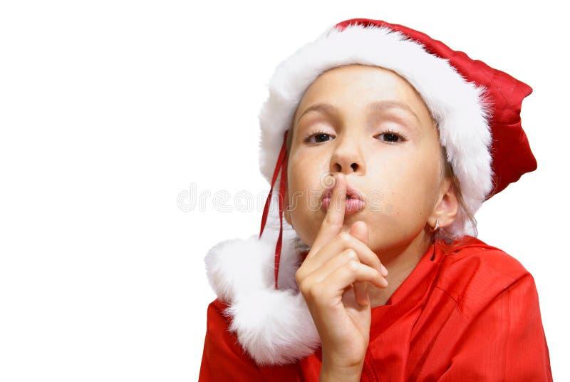 Menina do Preteen no chapéu de Santa foto de stock royalty free