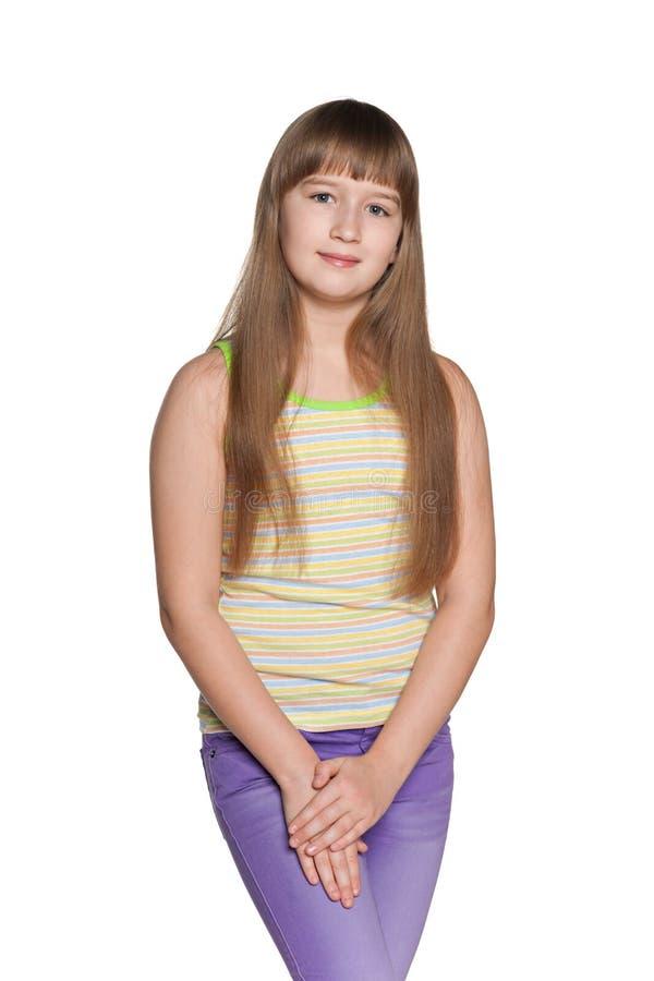 Menina do Preteen no fundo branco fotos de stock