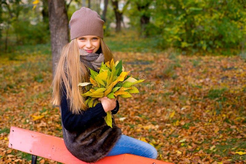 Menina do Preteen no parque do outono com folhas imagem de stock