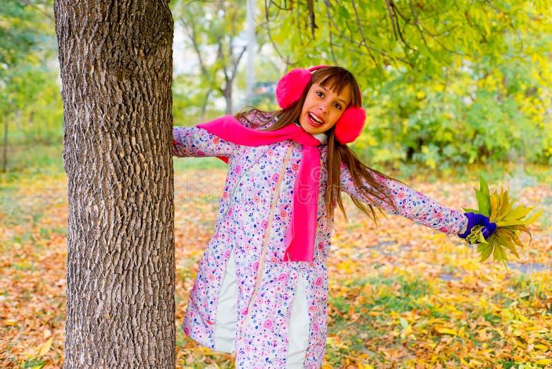 Menina do Preteen no parque do outono com folhas fotografia de stock