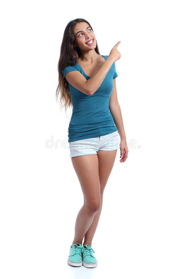 Menina do promotor do adolescente que apresenta apontar no lado imagens de stock