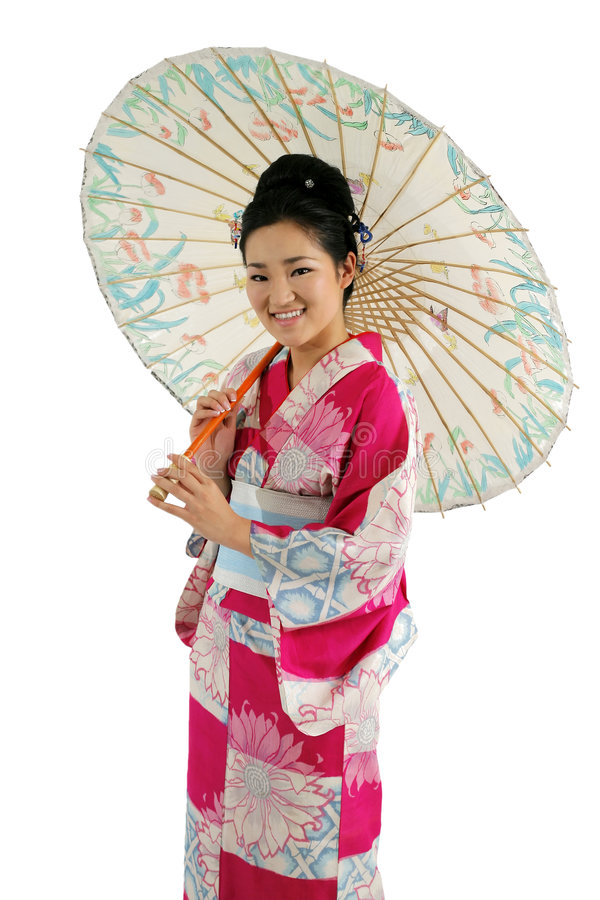 Menina do quimono e do guarda-chuva fotos de stock