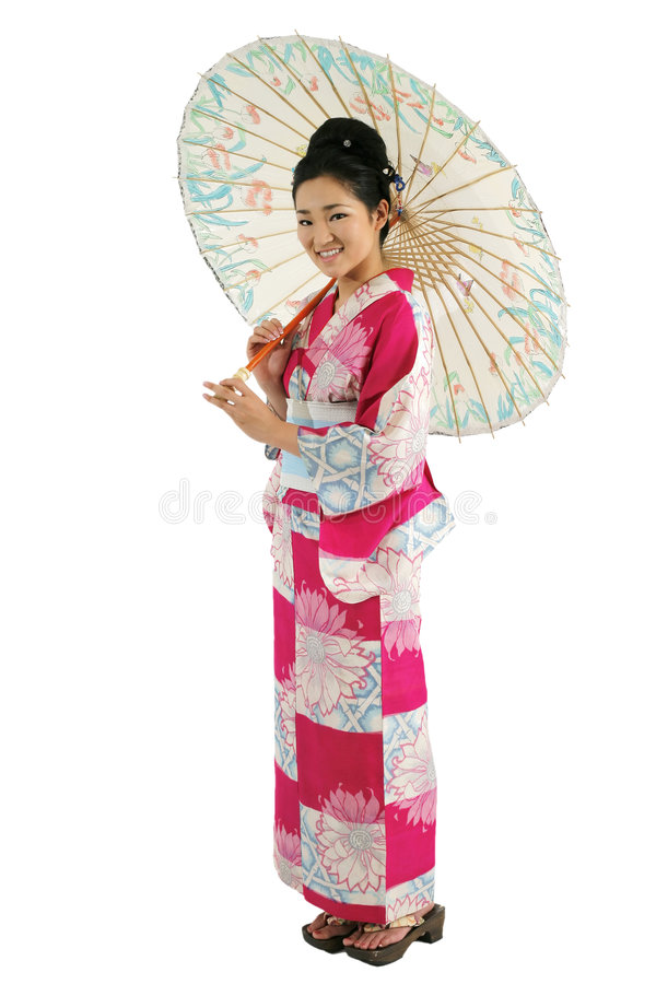 Menina do quimono e do guarda-chuva foto de stock