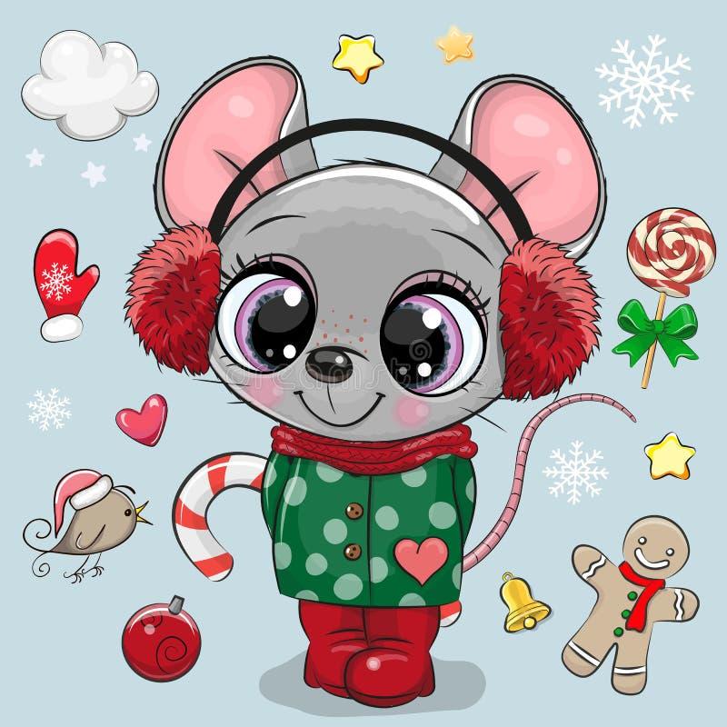 Menina do rato dos desenhos animados em um revestimento e em fones de ouvido da pele ilustração do vetor