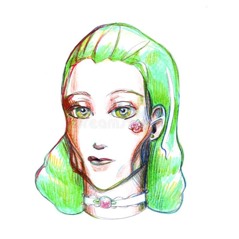 A menina do retrato com ilustração verde da imagem do desenho do cabelo coloriu a turquesa simples l dos olhos do amarelo da flor ilustração stock