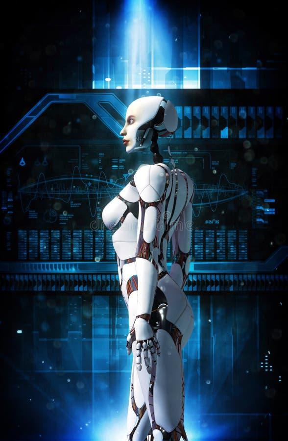 Menina do robô de Android ilustração do vetor