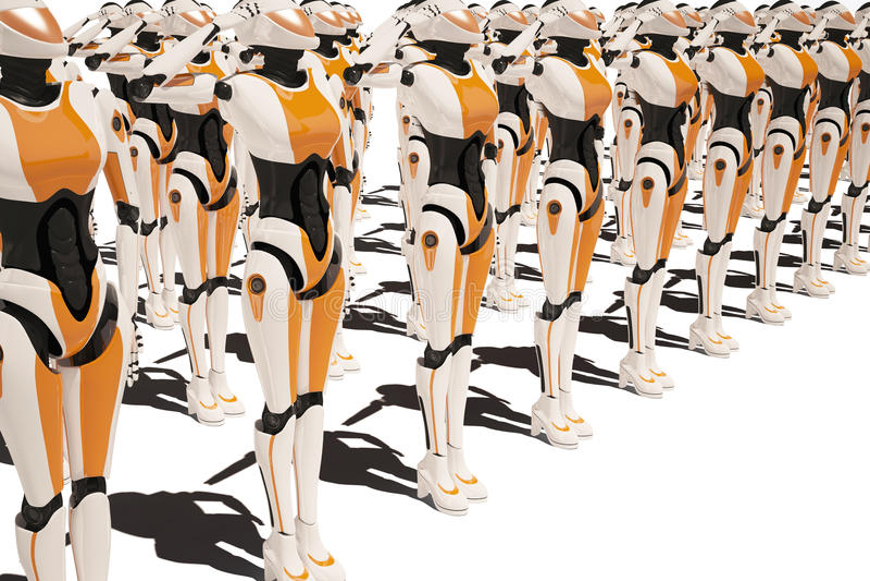 Menina do robô de Sci fi ilustração royalty free