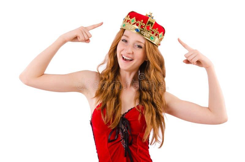 Menina do ruivo com conceito engraçado da coroa n fotos de stock