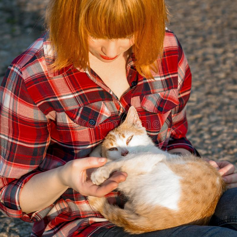 Menina do ruivo em uma camisa de manta que guarda um gato em seus braços, um gato ondulado acima e olhando a câmera imagem de stock