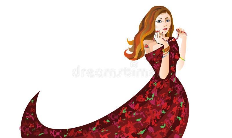 Menina do ruivo no vestido vermelho com os grânulos no vetor branco do fundo ilustração do vetor