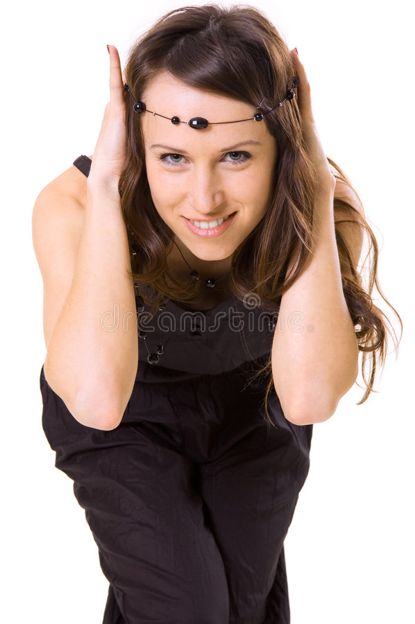 Menina do smiley com grânulos foto de stock royalty free