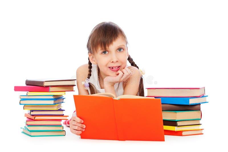 Menina do smiley com livros imagens de stock royalty free
