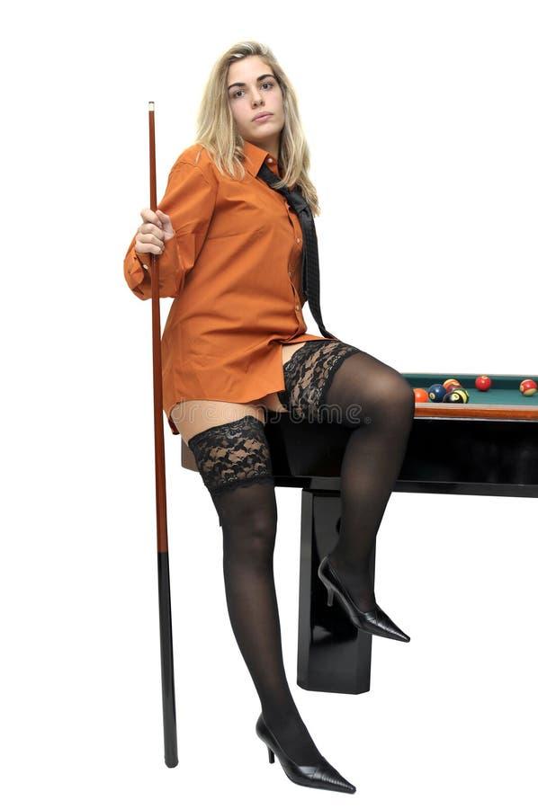 Menina do Snooker fotos de stock