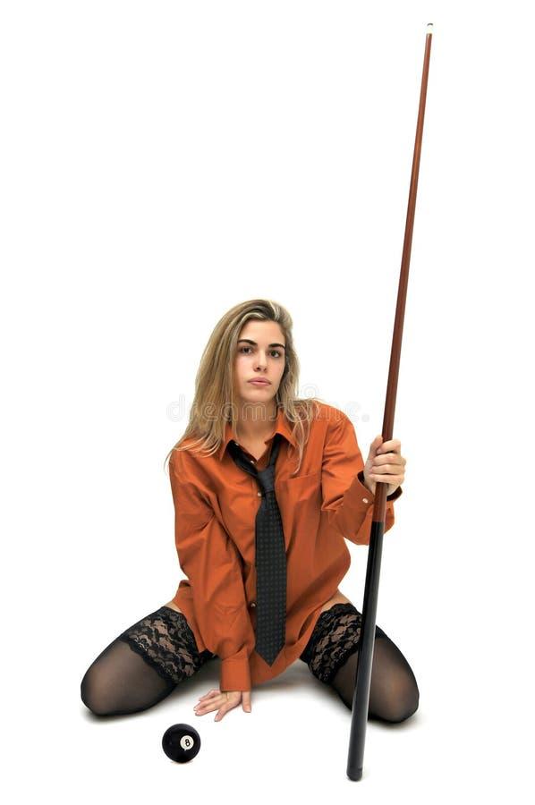 Menina do Snooker imagens de stock