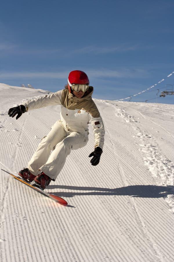 Menina do Snowboard imagens de stock royalty free