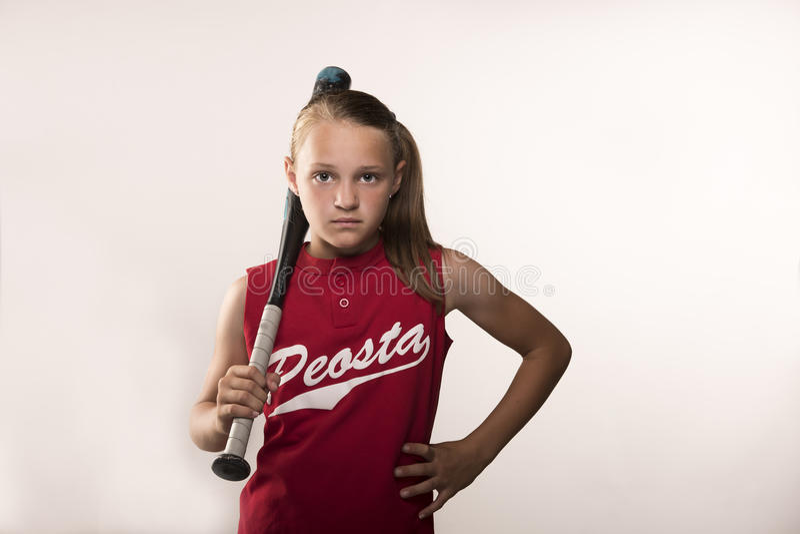 Menina do softball fotos de stock