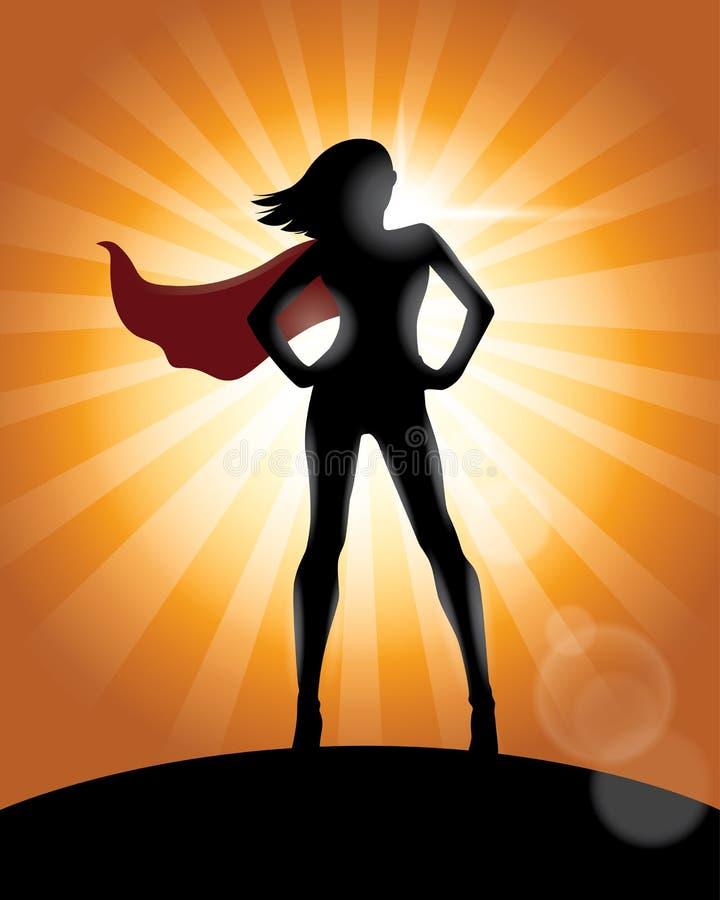 Menina do super-herói que está com o cabo que acena na silhueta do vento ilustração stock