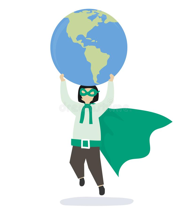 Menina do super-herói que salvar o mundo ilustração royalty free