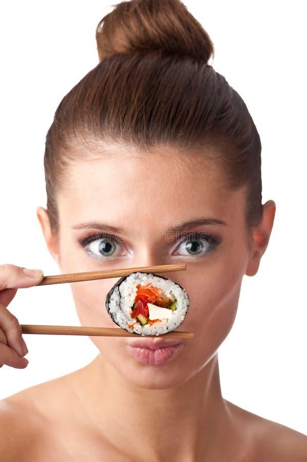 Menina do sushi isolada fotografia de stock royalty free