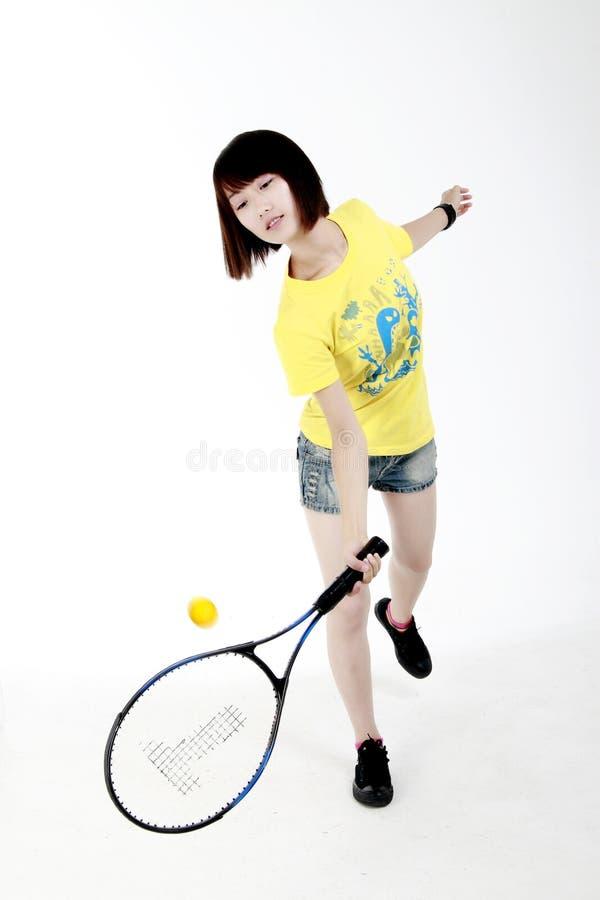 Menina do tênis imagens de stock
