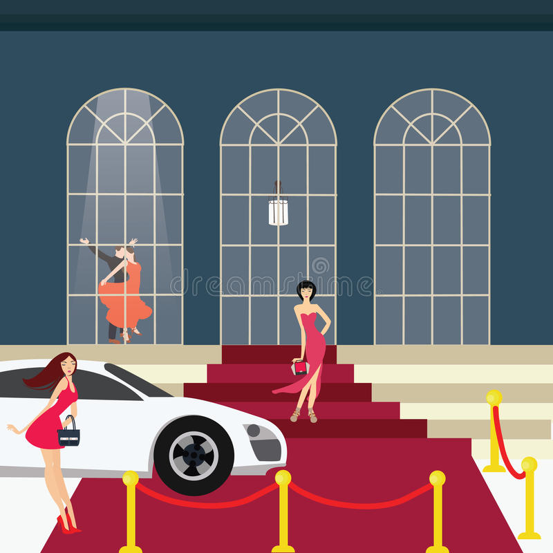 Menina do tapete vermelho do partido do encanto do carro ilustração do vetor