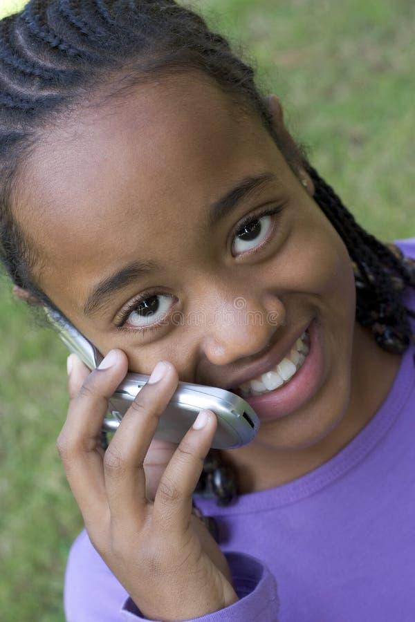 Menina do telefone fotografia de stock