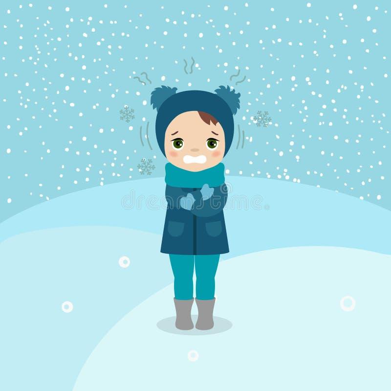 Menina do tempo frio ilustração royalty free
