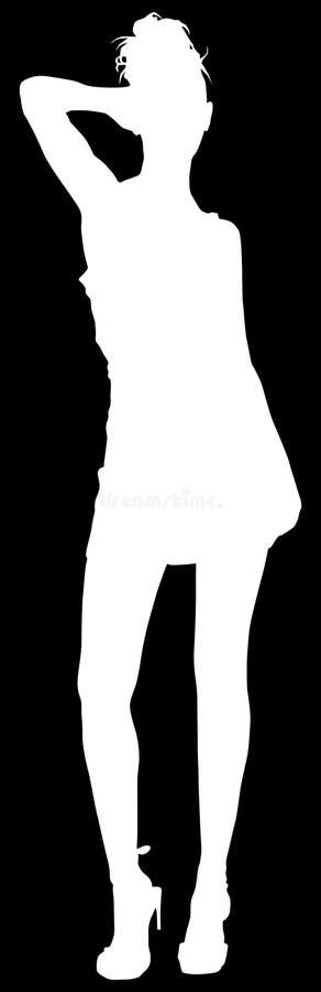 Menina do trajeto de grampeamento da silhueta ilustração royalty free