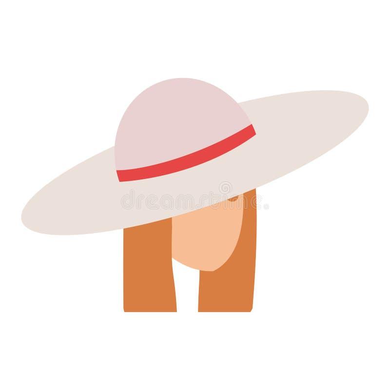 Menina do turista com caráter principal do chapéu do verão ilustração royalty free