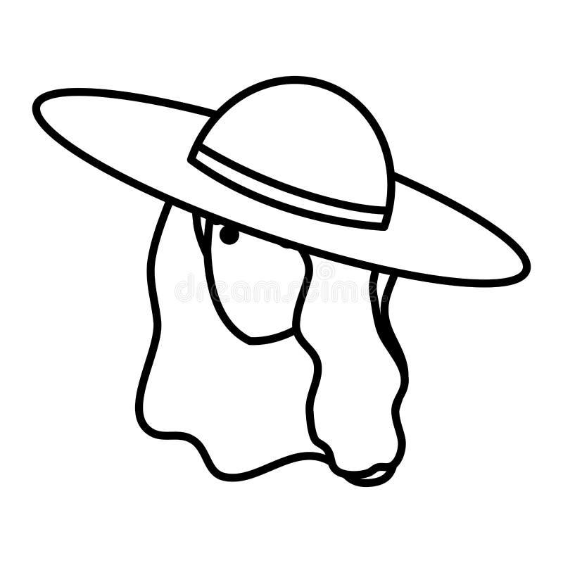 Menina do turista com caráter principal do chapéu do verão ilustração stock