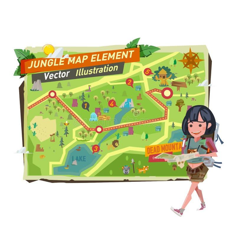 Menina do turista com elementos do mapa da selva wa do caráter da menina do turista ilustração royalty free
