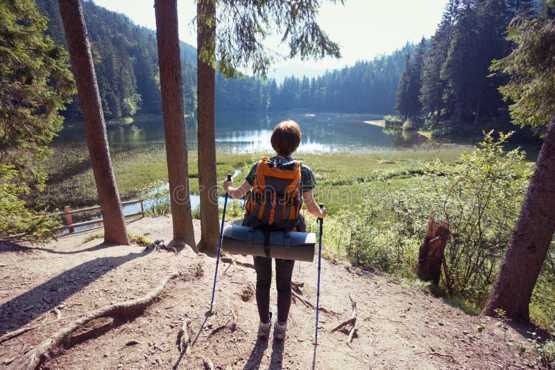 Menina do turista em um lago da montanha foto de stock royalty free