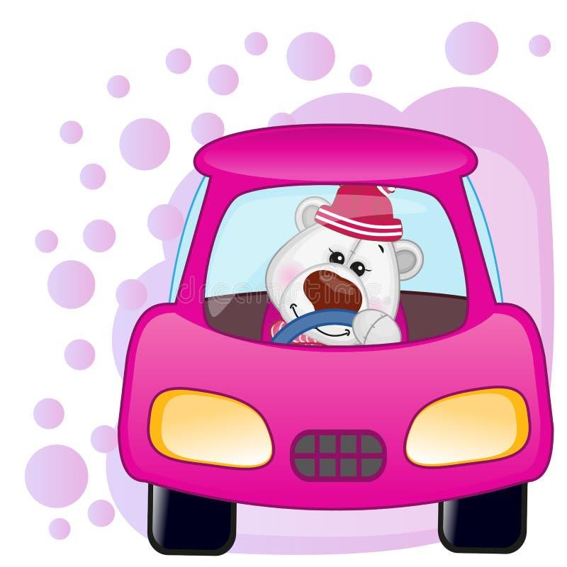 Menina do urso polar em um carro ilustração do vetor