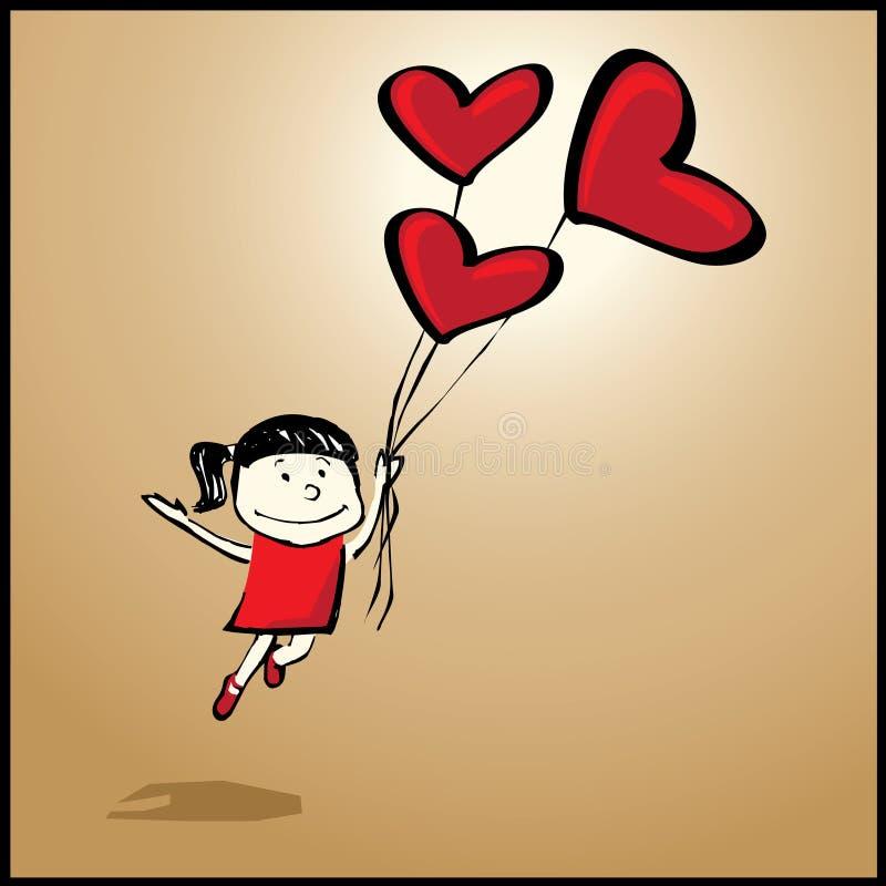 Menina do vôo com coração-balão ilustração royalty free