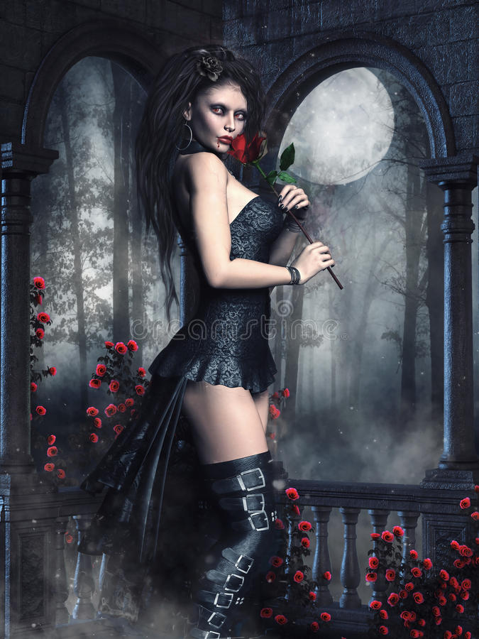 Menina do vampiro com rosas ilustração royalty free