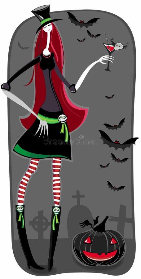 Menina do vampiro ou do zombi ilustração stock