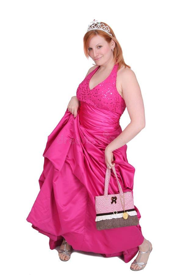 Menina do vestido da cor-de-rosa quente foto de stock