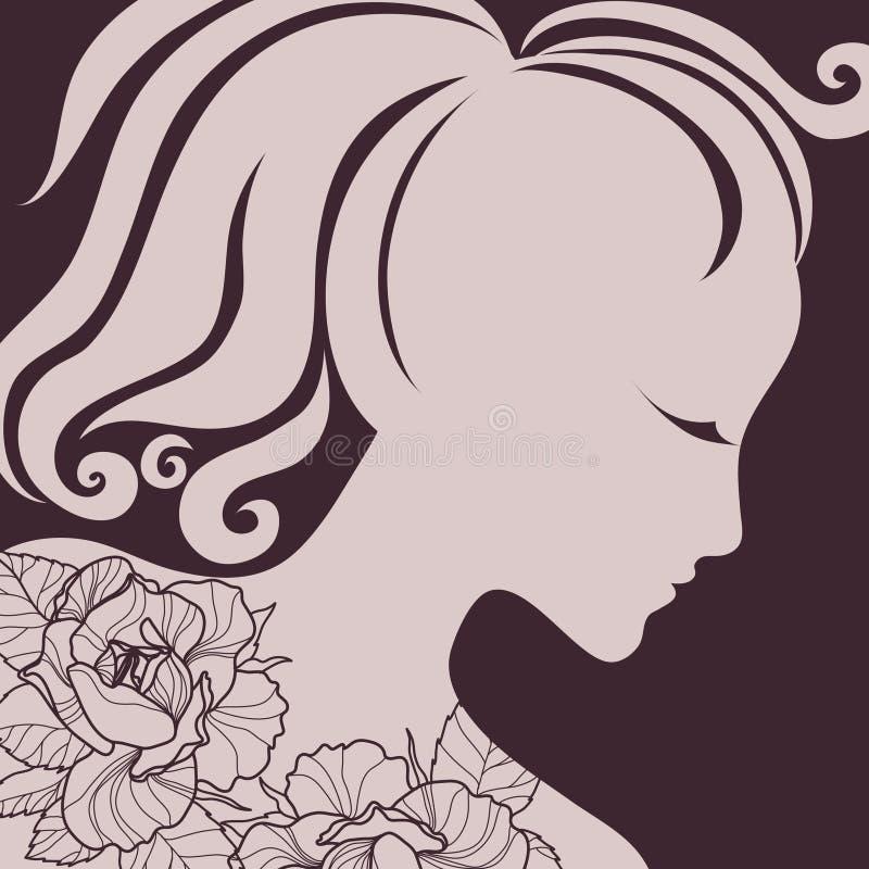 Menina do vetor com cabelo bonito ilustração do vetor
