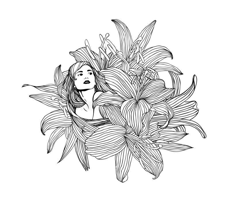 Menina do vetor com flores do lírio ilustração do vetor