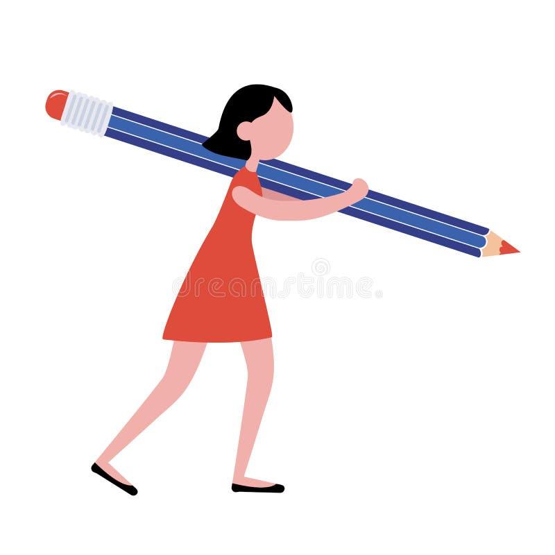 Menina do vetor com um lápis grande Vai fazer o trabalho ou estudá-lo ilustração royalty free