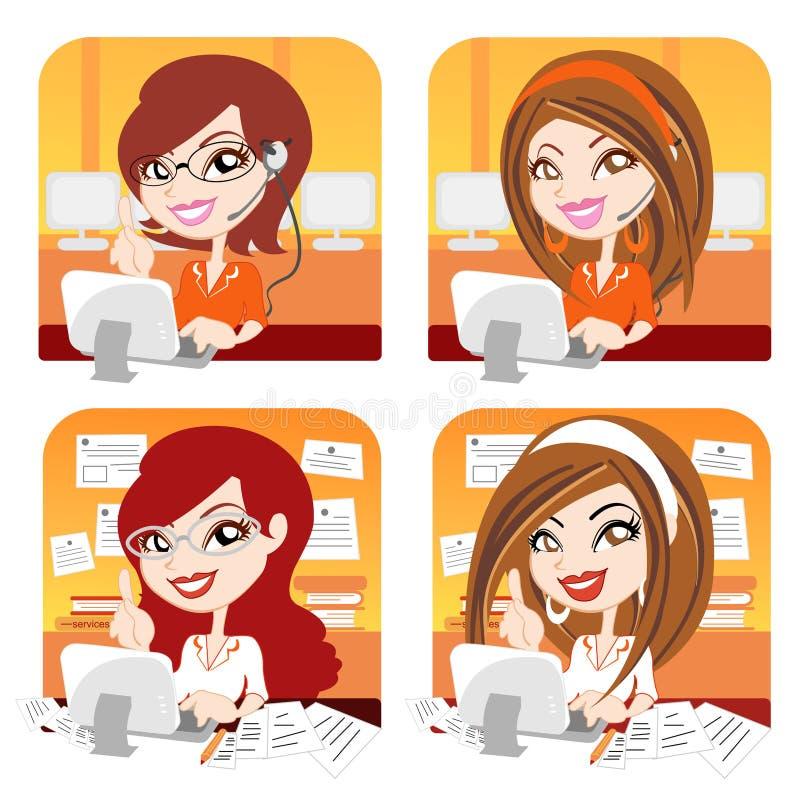 Menina do vetor no escritório ilustração stock