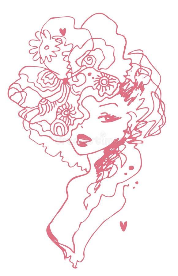 Menina do vintage ilustração royalty free
