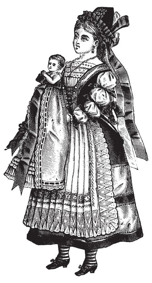 Menina do vintage com ilustração do vetor da boneca ilustração do vetor