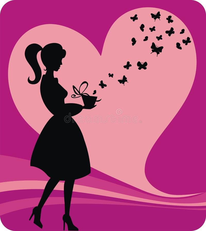 Menina do vintage com presente romântico ilustração stock
