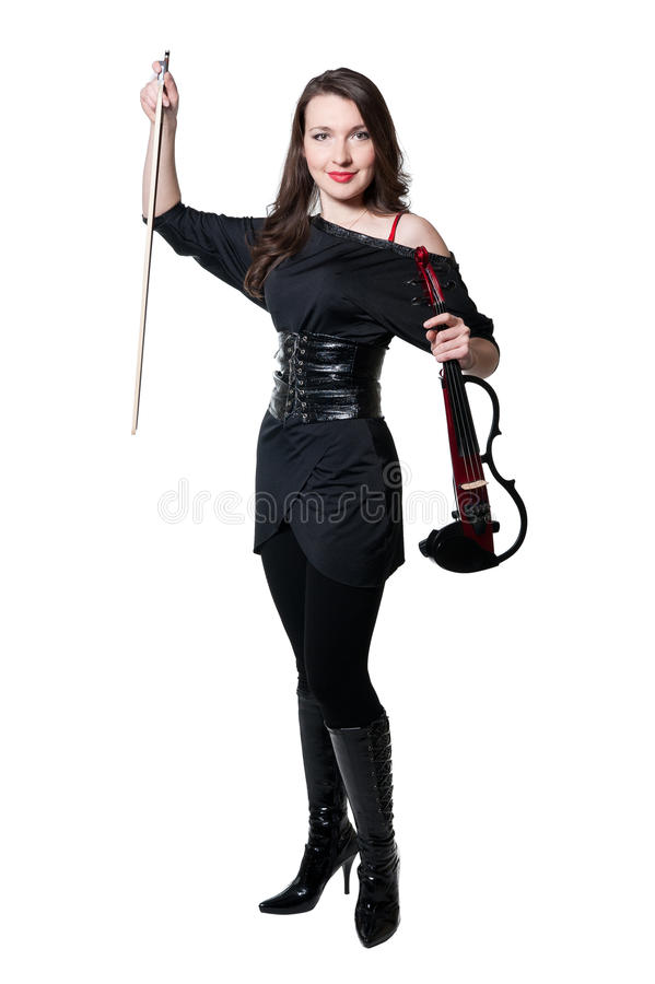 Menina do violinista no vestido preto imagem de stock