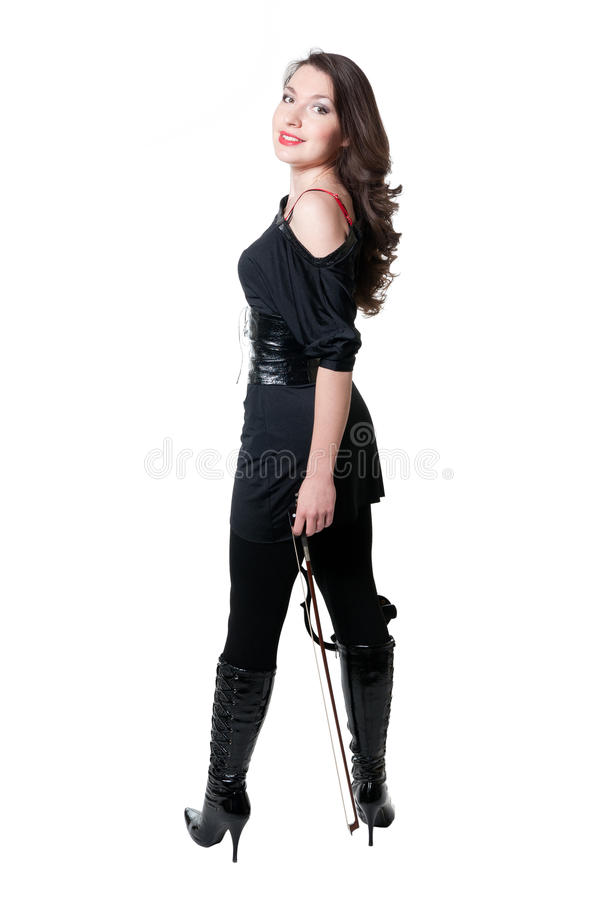Menina do violinista no vestido preto imagens de stock royalty free